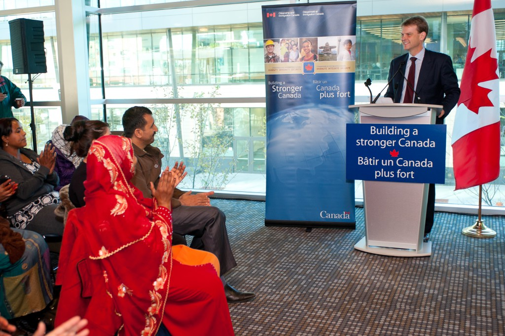 Minister Alexander announces federal support for the Language Instruction for Newcomers to Canada (LINC) program at Bow Valley College – Calgary, Alberta. Photo credit: CIC